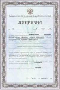 Лицензия на осуществление образовательной деятельности ВИЭПП
